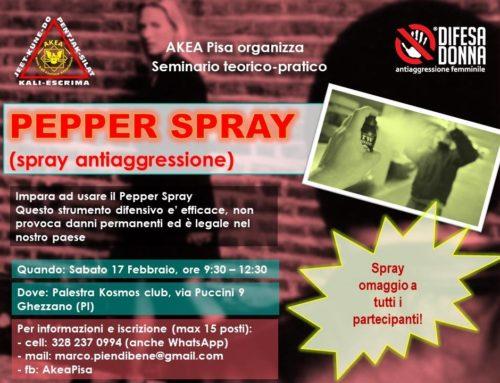 Akea Pisa Organizza seminario teorico pratico – Pepper spray – sab 17 Feb 2018