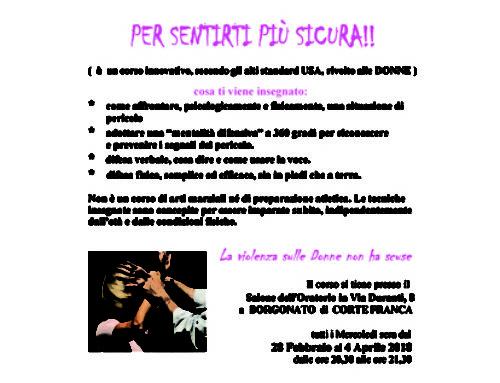 Corso serale di antiaggressione femminile a Borgonato di Cortefranca (Brescia)