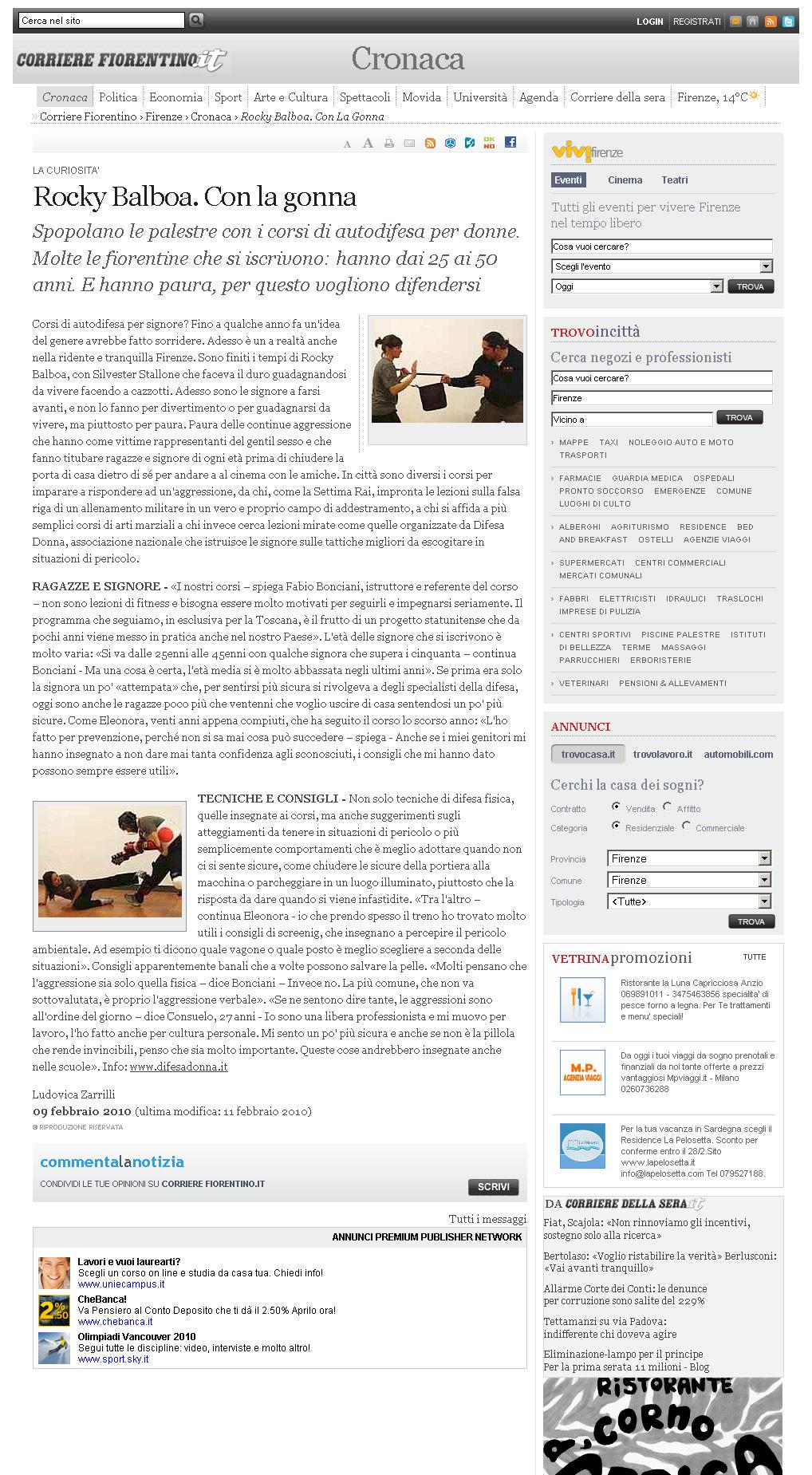 Corrierefiorentino.it – 09 Febbraio 2010