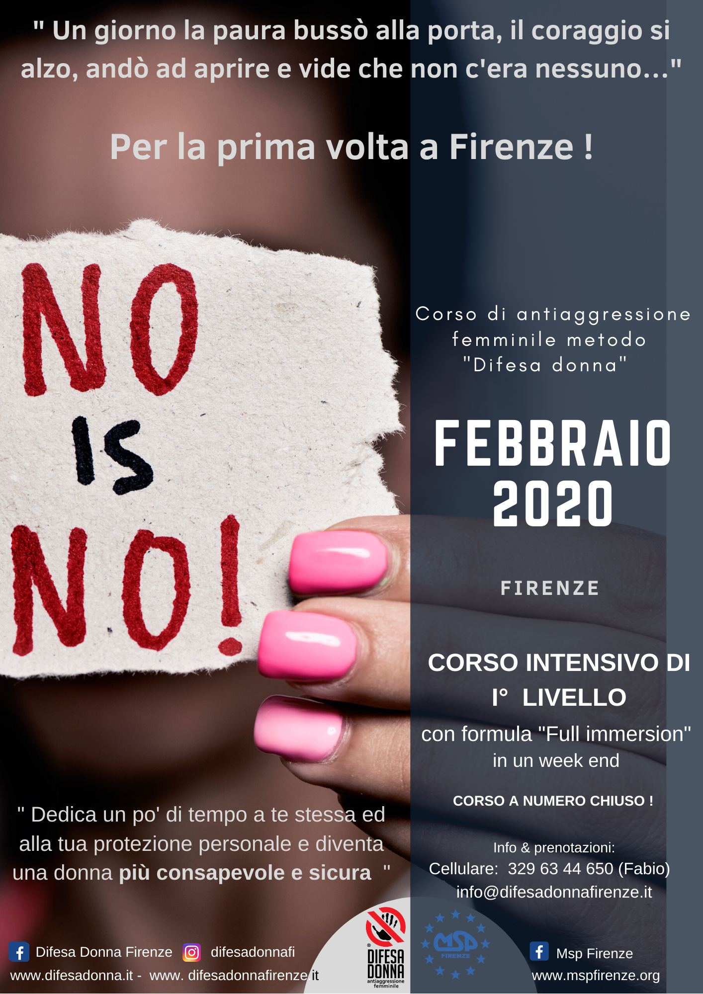 "Corso Full Immersion Antiaggressione Femminile ""No is No!""  Firenze"